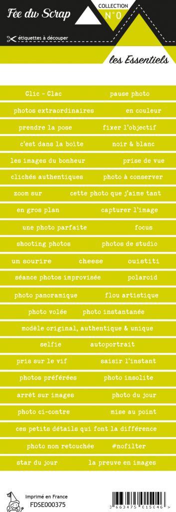 étiquette les essentiels bandes de mots vert clair chaleureux
