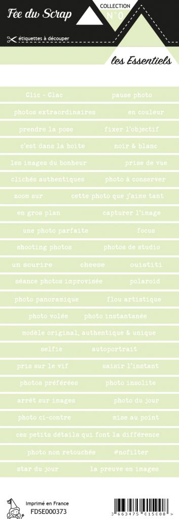 étiquette les essentiels bandes de mots vert pâle printanier