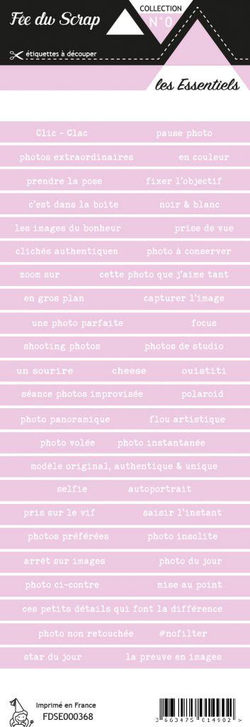 étiquette les essentiels bandes de mots violet pâle chic