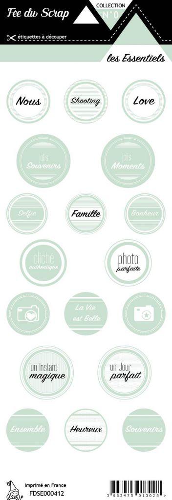 étiquette les essentiels étiquettes rondes menthe clair