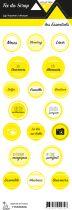 étiquette les essentiels jaune étiquettes rondes