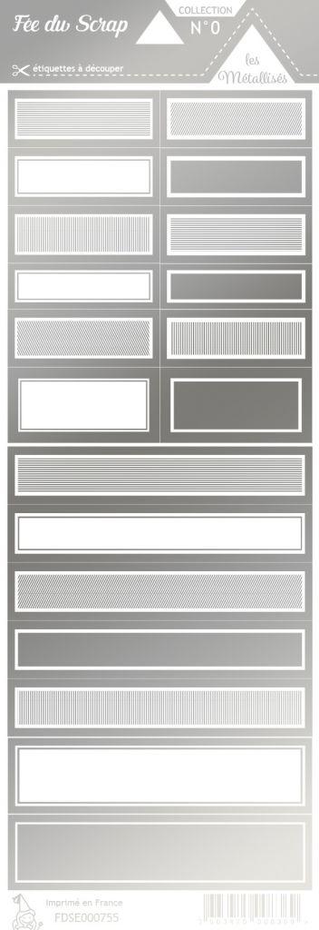 étiquette les essentiels métallisés étiquettes rectangles argent