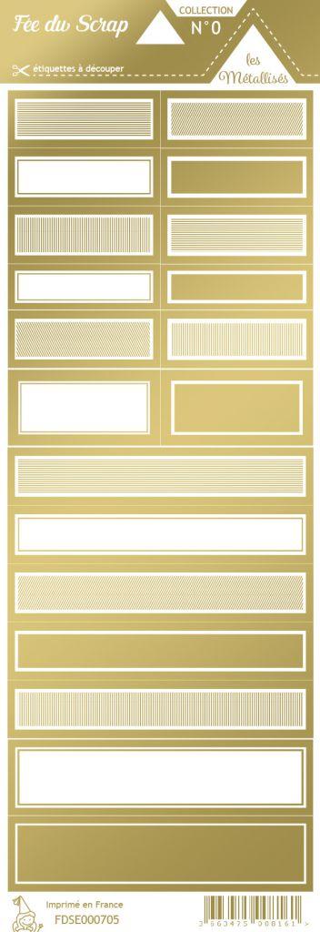 étiquette les essentiels métallisés étiquettes rectangles or