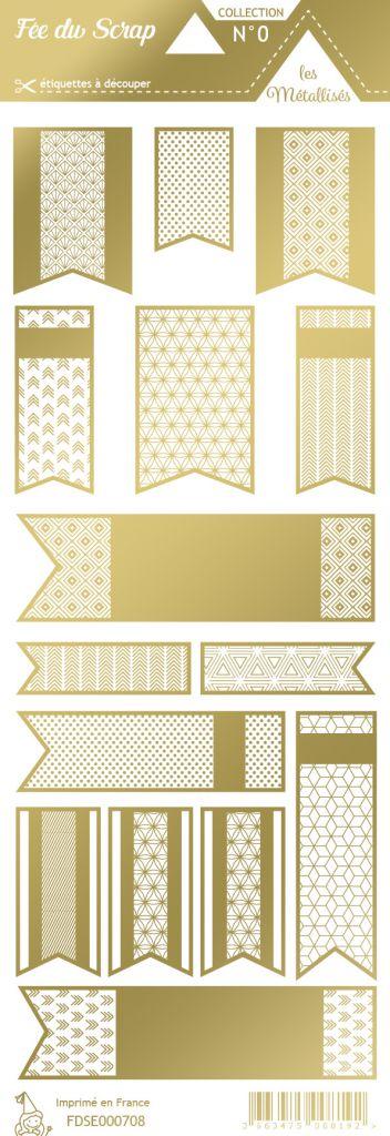 étiquette les essentiels métallisés fanions or