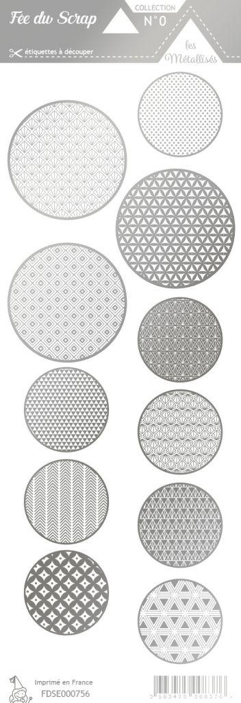 étiquette les essentiels métallisés ronds argent