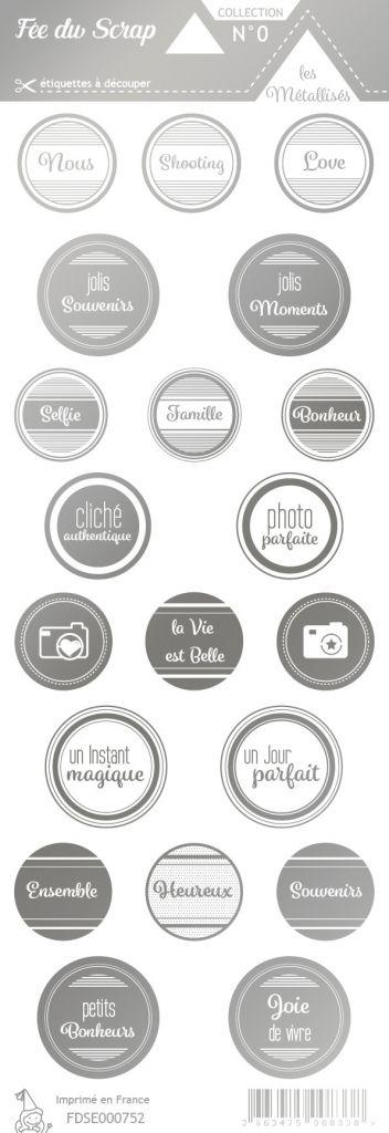 étiquette les essentiels métallisés ronds avec mots argent