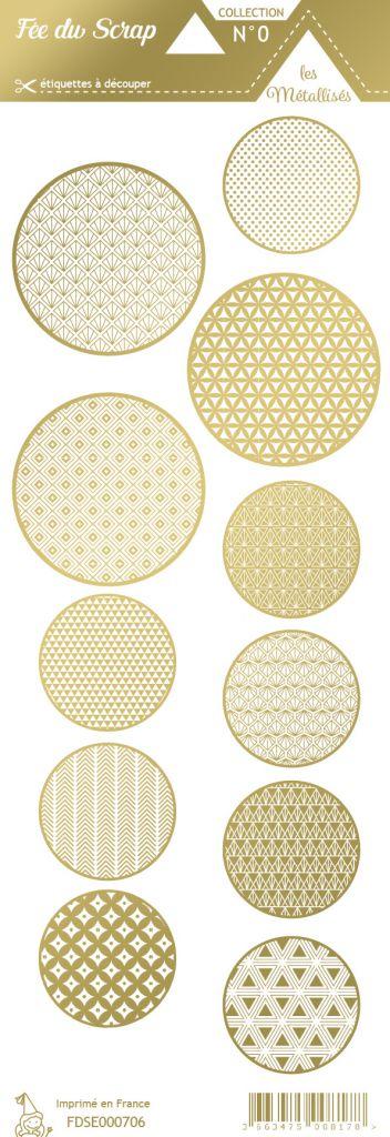 étiquette les essentiels métallisés ronds or