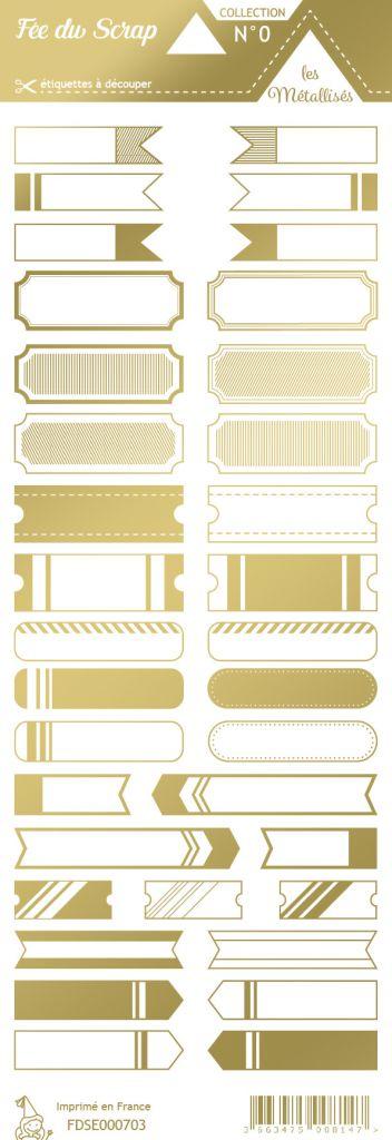 étiquette les essentiels métallisés tickets or