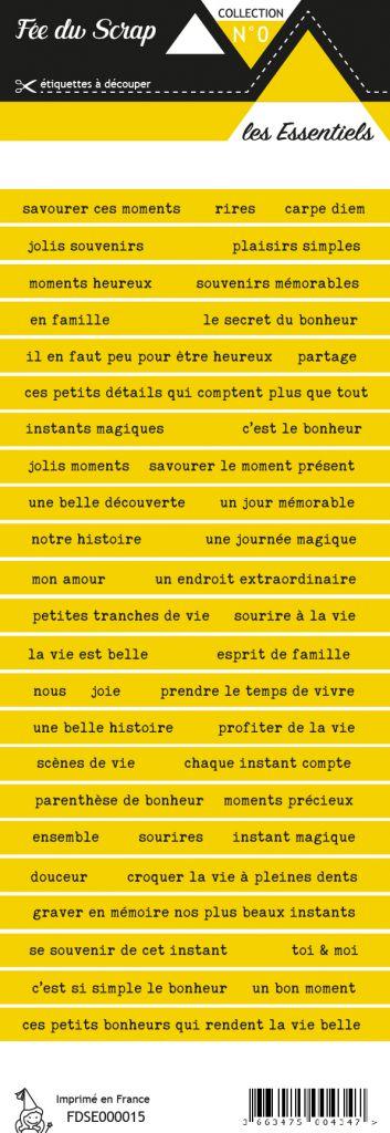 étiquette les essentiels moutarde bandes de mots