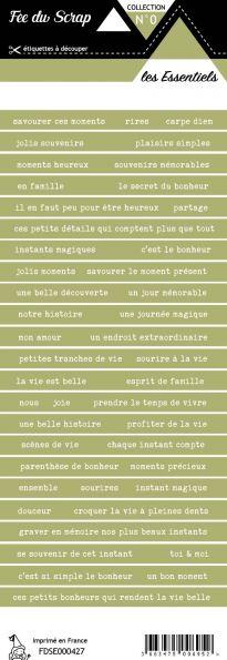 étiquette les essentiels vert olive bandes de mots