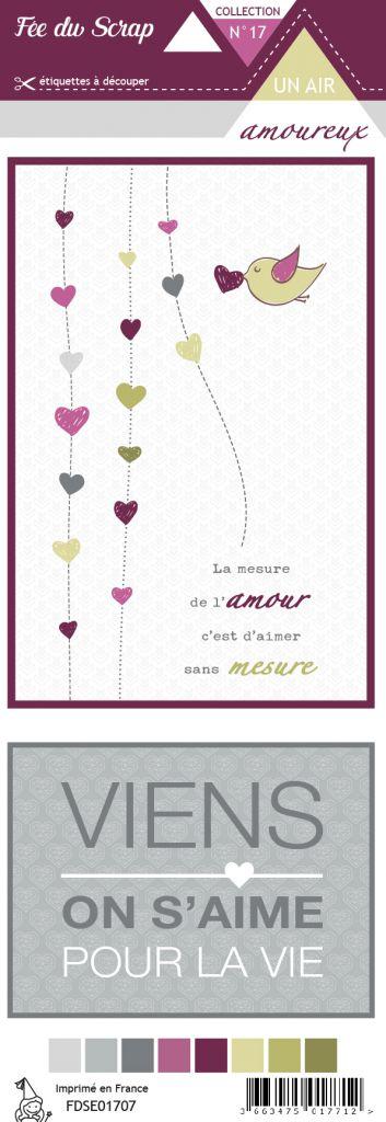 étiquette un air amoureux cartes project life 2