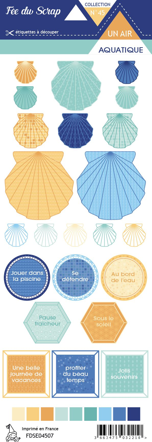 Etiquette un air aquatique - Coquillages