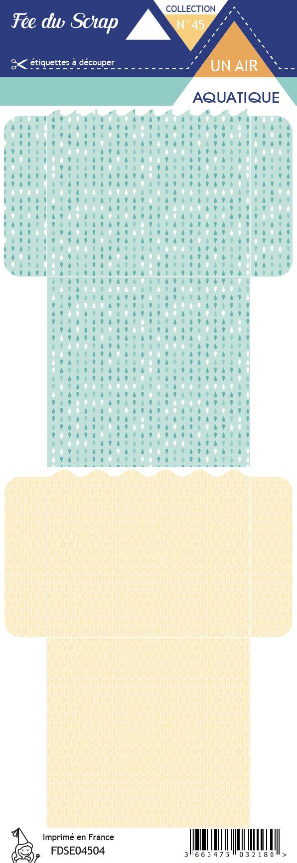 Etiquette un air aquatique - Pochettes turquoise et beige