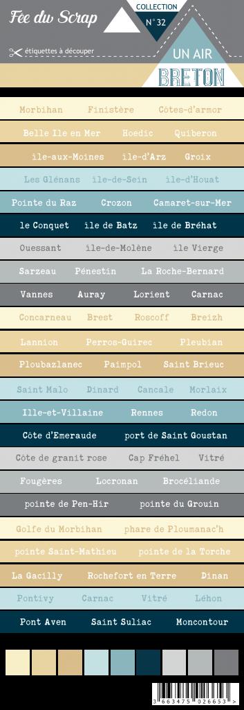 Etiquette un air breton - bandes de mots Bretagne lieux