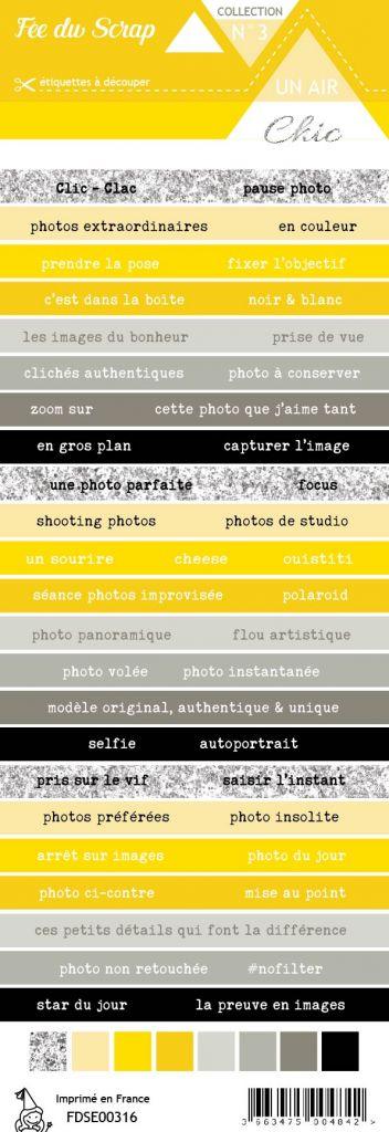 étiquette Un air Chic jaune bandes de mots
