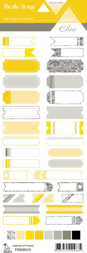 étiquette Un air Chic jaune étiquettes tickets