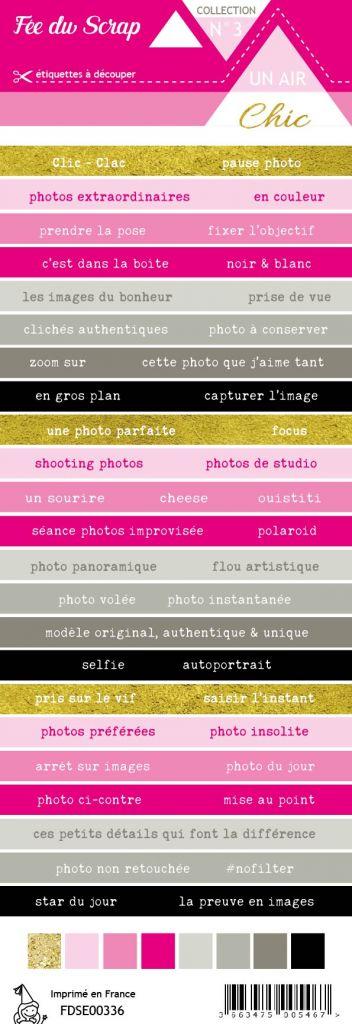 étiquette Un air Chic rose bandes de mots