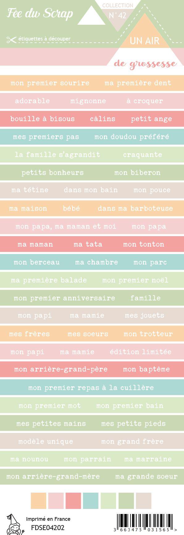 Etiquette un air de grossesse - Bandes de mots famille
