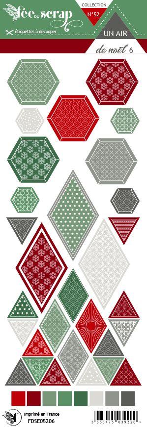 Etiquette un air de noël - Losanges et hexagones