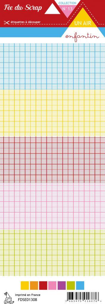 étiquette un air enfantin lignes de cahier