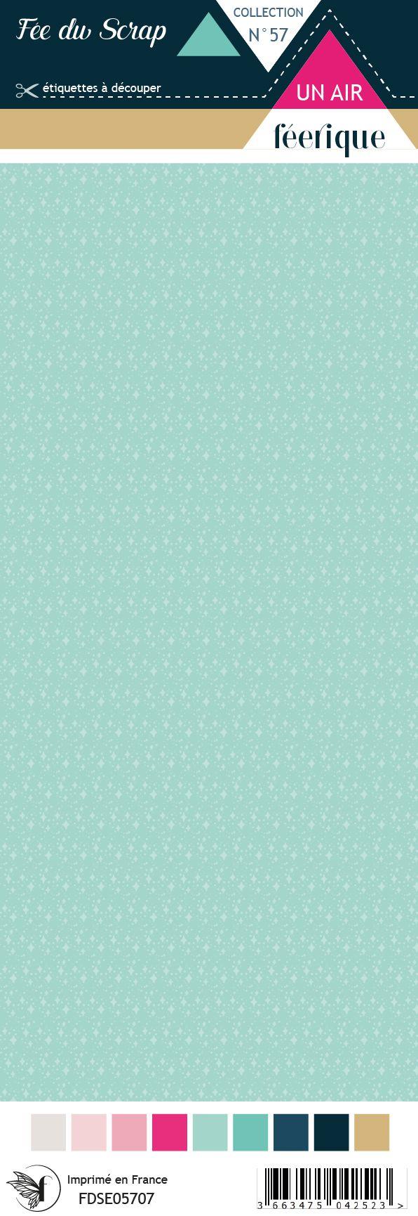 Etiquette un air féérique - Fond turquoise
