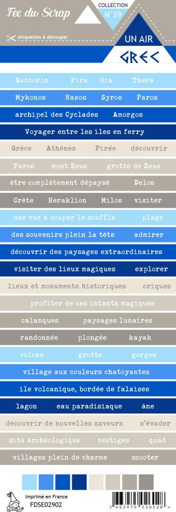 Etiquette un air grec - bandes de mots
