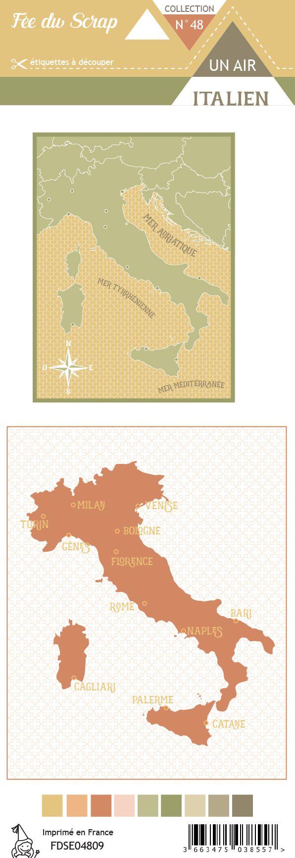 Etiquette un air italien - Cartes project life carte d\'Italie