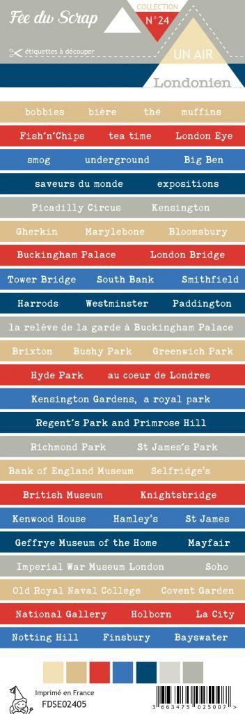 Etiquette un air londonien - bandes de mots Londres