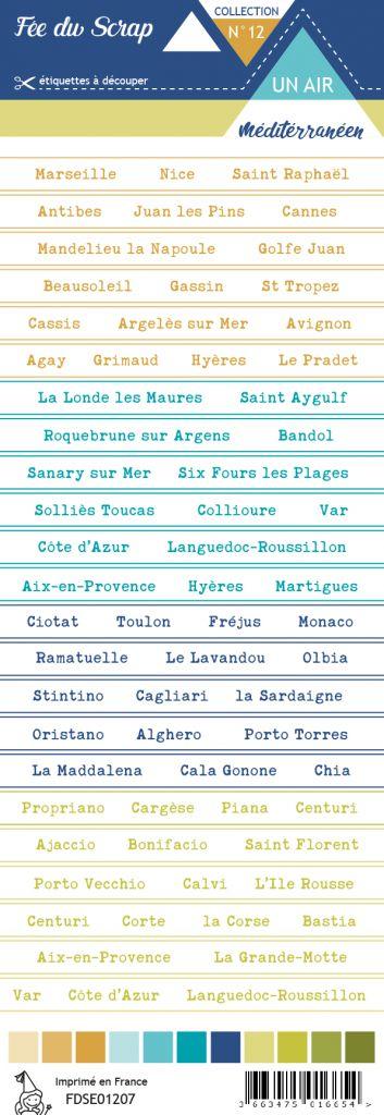 étiquette un air méditérranéen bandes de mots villes