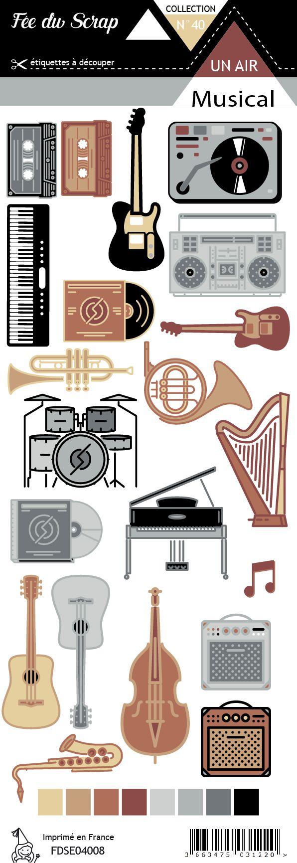 Etiquette un air musical - Instruments de musique