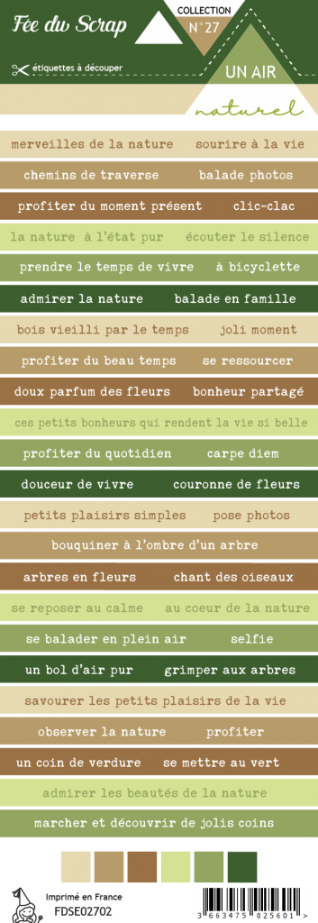 Etiquette un air naturel - bandes de mots