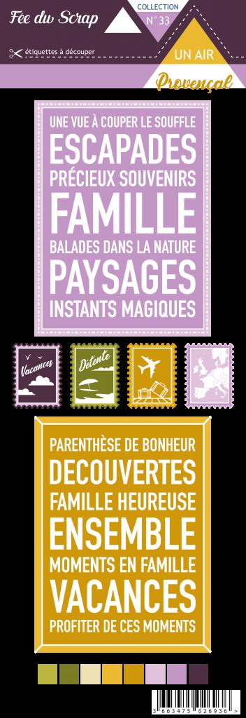 Etiquette un air provencal - project life