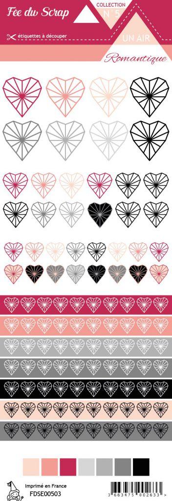 étiquette un air romantique coeurs