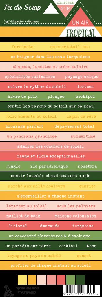 Etiquette un air tropical - bandes de mots