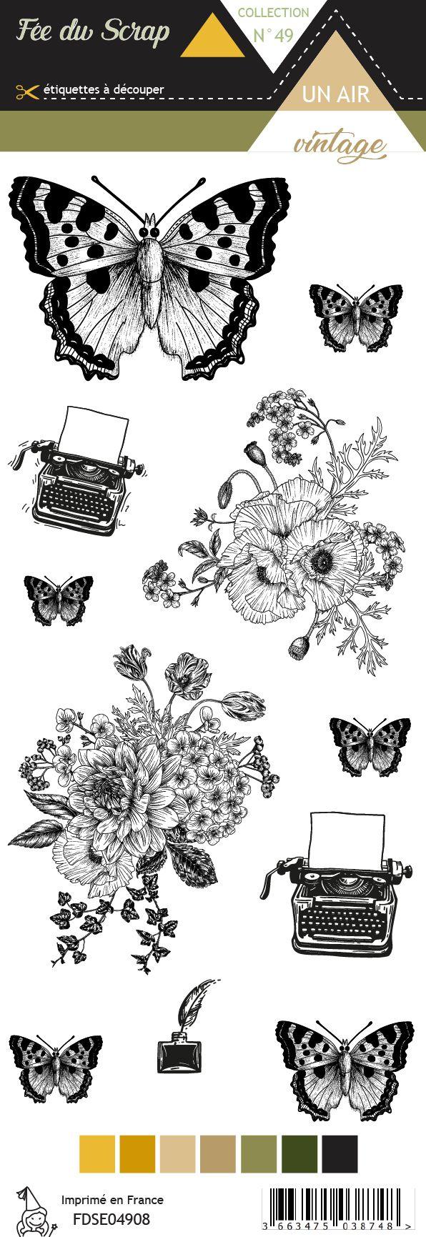 Etiquette un air vintage - Papillons et fleurs