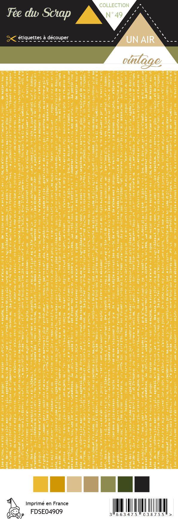 Etiquette un air vintage - Texte usé fond jaune