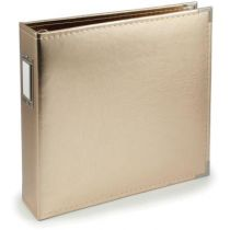 FAUX LEATHER 3 RING BINDER 12X12 GOLD