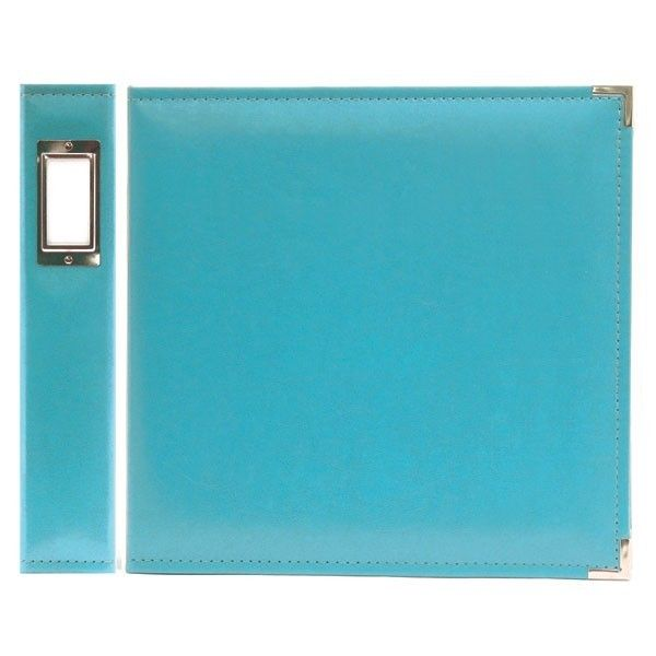 FAUX LEATHER 3 RING BINDER AQUA 12X12