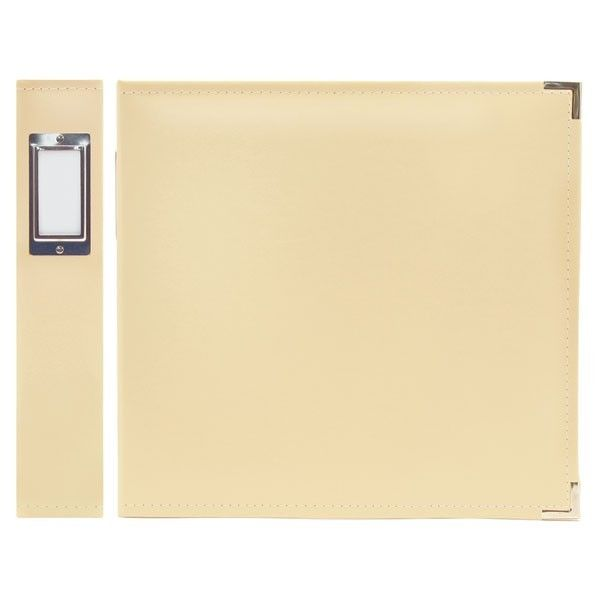 FAUX LEATHER 3 RING BINDER VANILLA 12X12