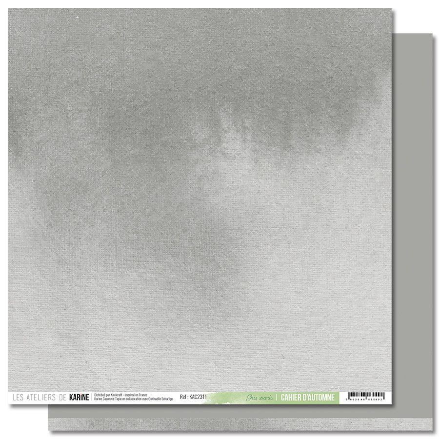 Feuille 11 Gris souris - Collection Back to Basics Cahier d\'Automne - Les Ateliers de Karine