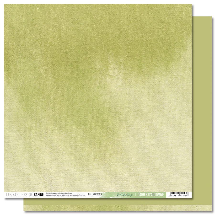 Feuille 9 Vert Feuillage - Collection Back to Basics Cahier d\'Automne- Les Ateliers de Karine
