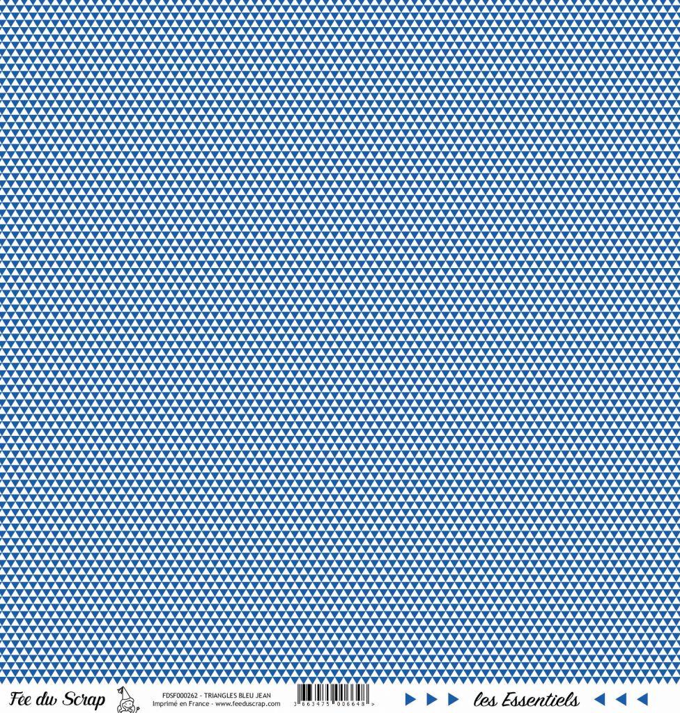 feuille les essentiels bleu jean triangles