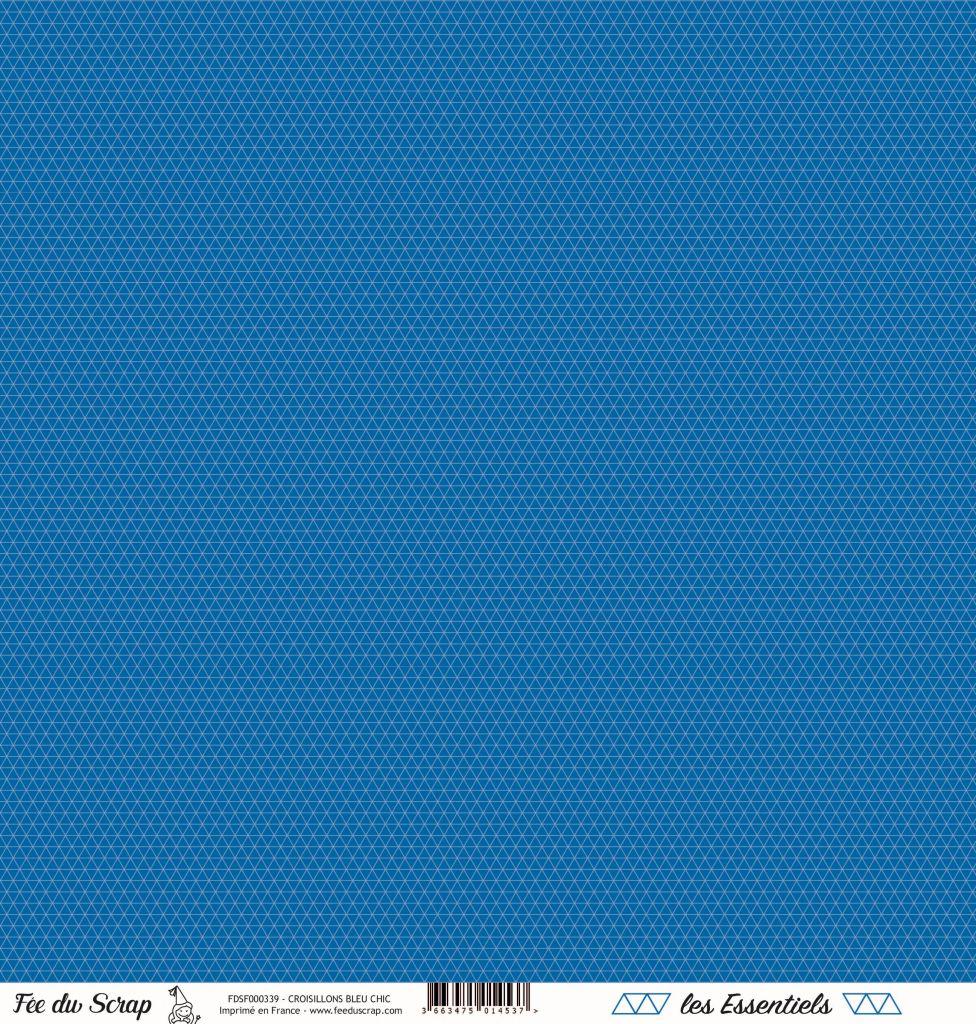 feuille les essentiels croisillons bleu chic
