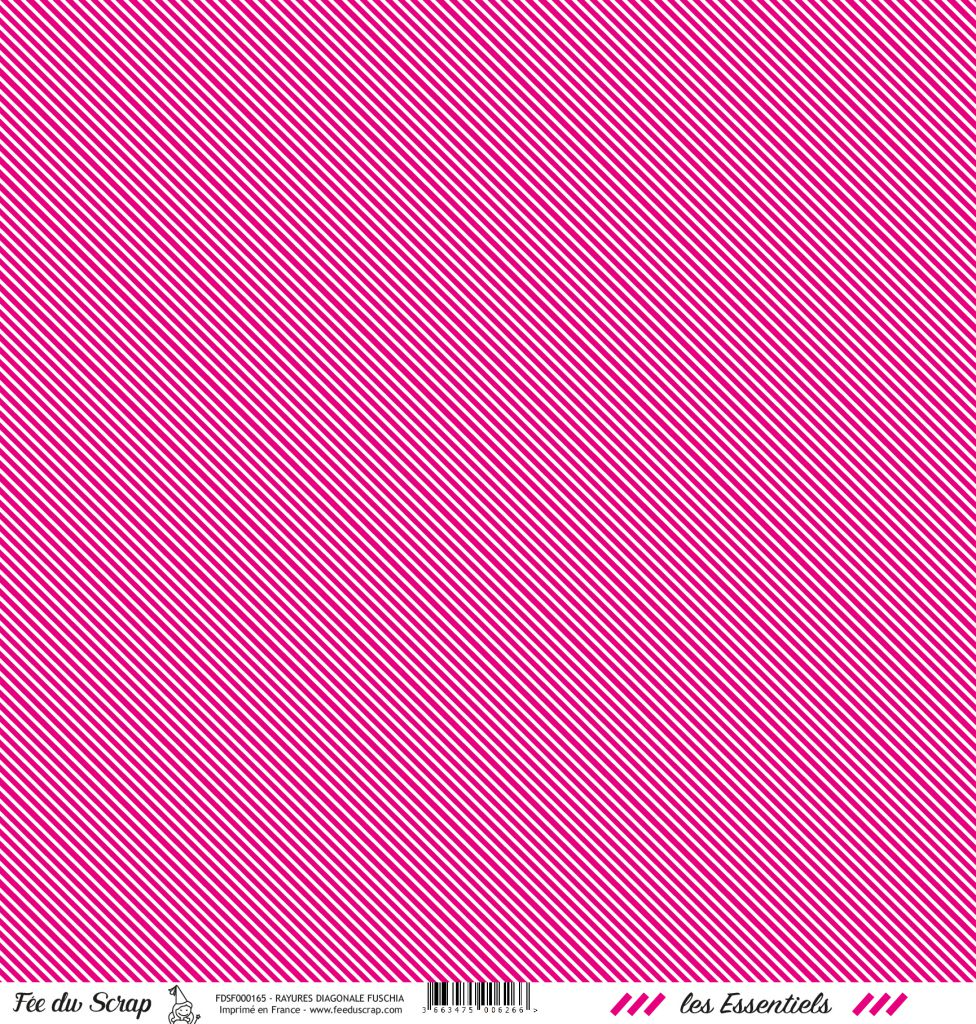 feuille les essentiels fuchsia rayures