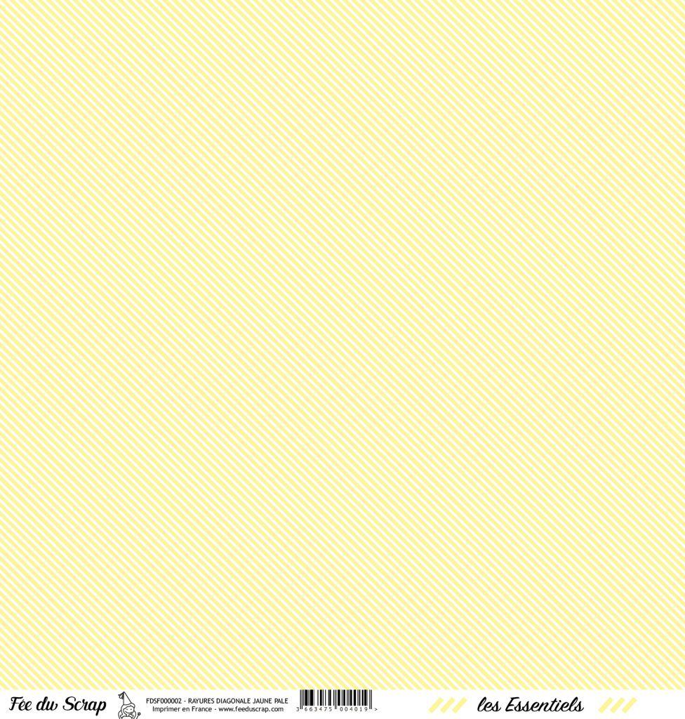 feuille les essentiels jaune pale rayures