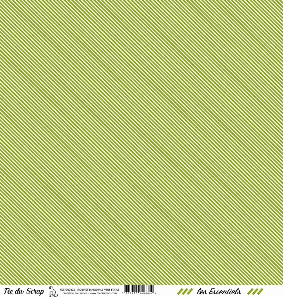 feuille les essentiels vert foncé rayures