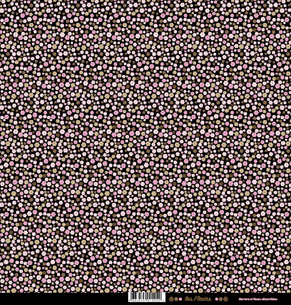 feuille Les fleurs marron/rose