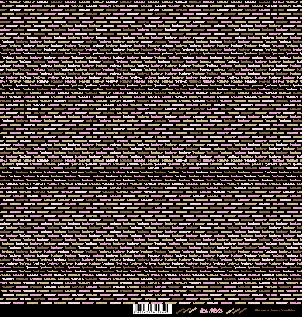 feuille Les mots bonheur marron/rose