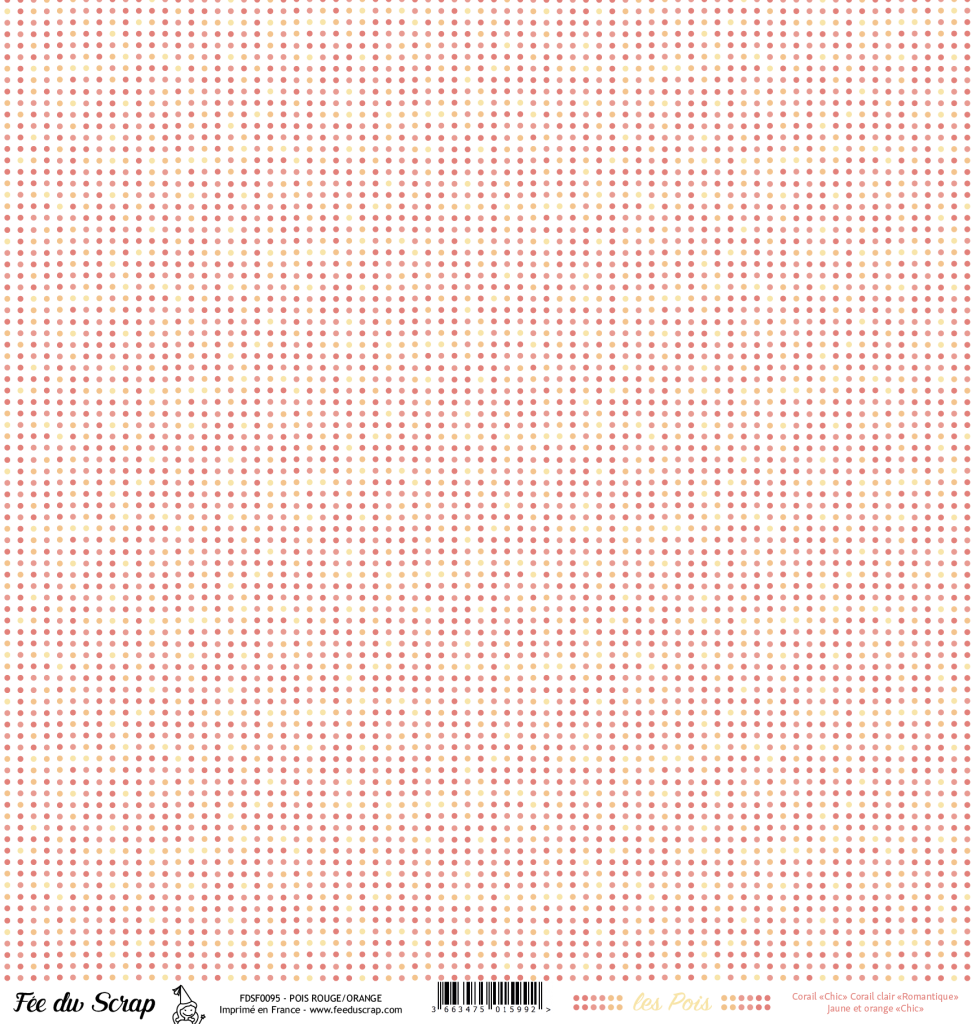 feuille Les pois rouge/orange