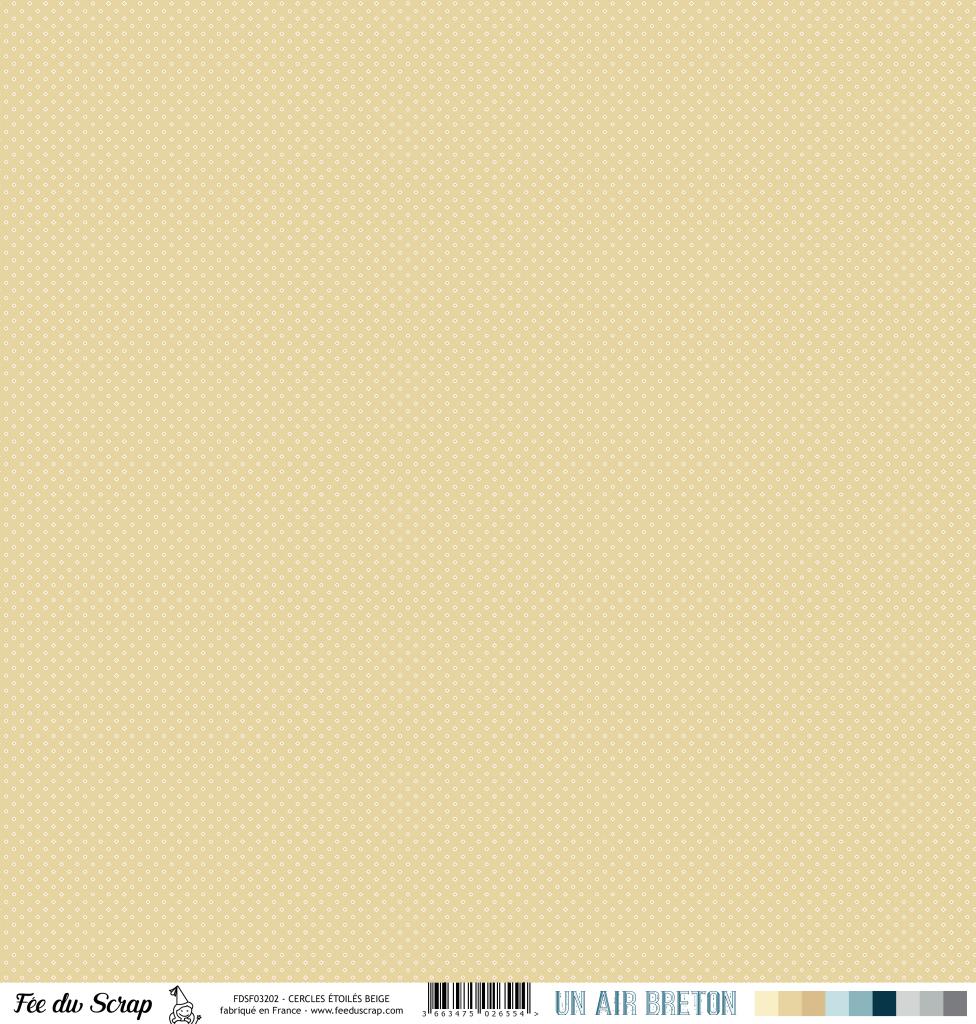 Feuille un air breton - cercles étoilés beige